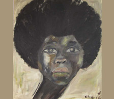 Portrait of a young black woman with an afro