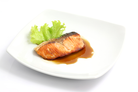 Grilled salmon with teriyaki sauce