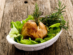 Chicken leg with salad
