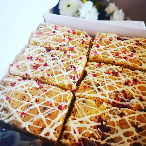 White Chocolate & Raspberry Blondies
