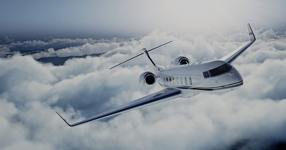 Private Jet Flying in clouds