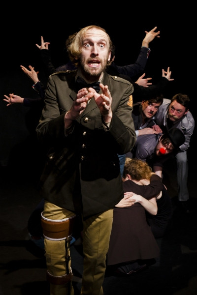 Gareth Fordred and the cast of The Faction's Twelfth Night as the box tree.