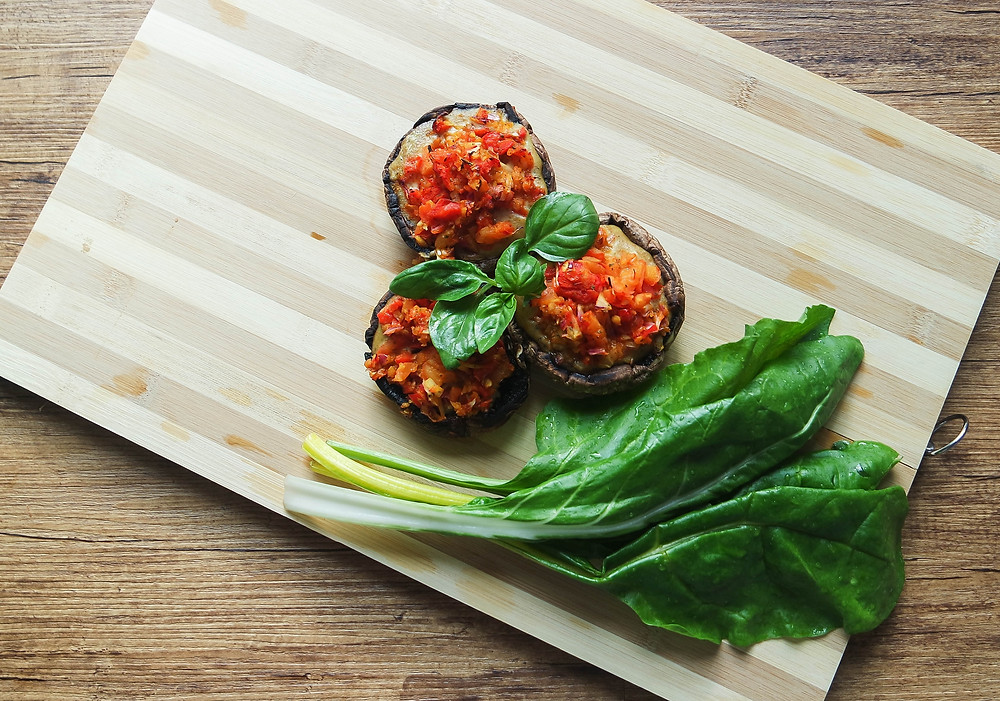 Stuffed Mushroom Topped with Special White Herb Sauce and Spicy Tomato Salsa