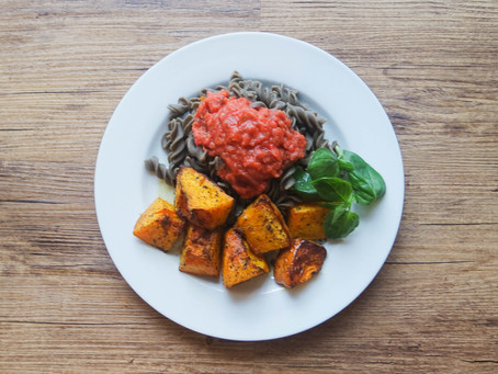 Green Pea Fusilli, Raw Tomato and Basil Sauce with Roasted Herb Butternut Squash.