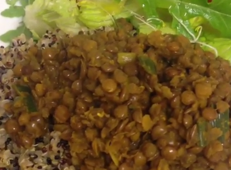 Brown Lentil Curry with Tri-colour Quinoa and Alfalfa Sprout Salad Recipe