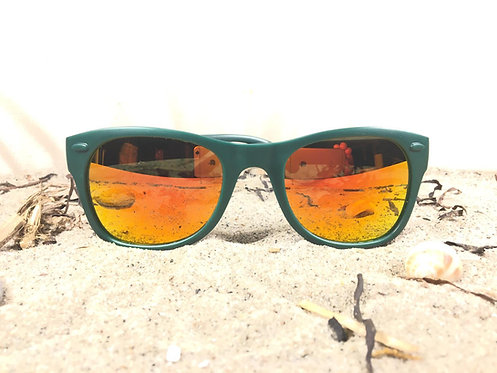 100% recycled fishing nets, Green with Red UV400 lenses