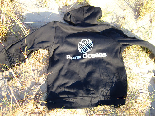 Hoodie with logo and beach cleaning support