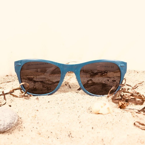Blue with dark UV400 lenses, 100% recycled fishing nets