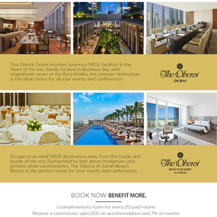 Спецпредложение для MICE-групп от The Oberoi Dubai 5* и The Oberoi Beach Resort, Al Zorah 5*, ОАЭ