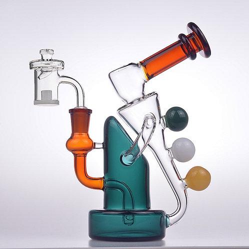 Retro Triple Orb Glass Water Percolator Bong