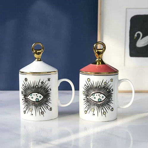 All Seeing Eye Ceramic Tea Mug Hand Lid Decor