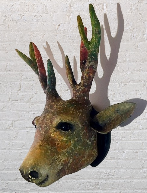 Faux Stags Head Sculpture