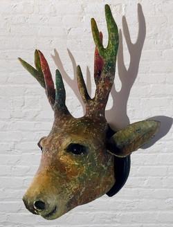 Faux Stags Head Sculpture