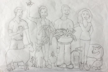 Sketch of family before painting
