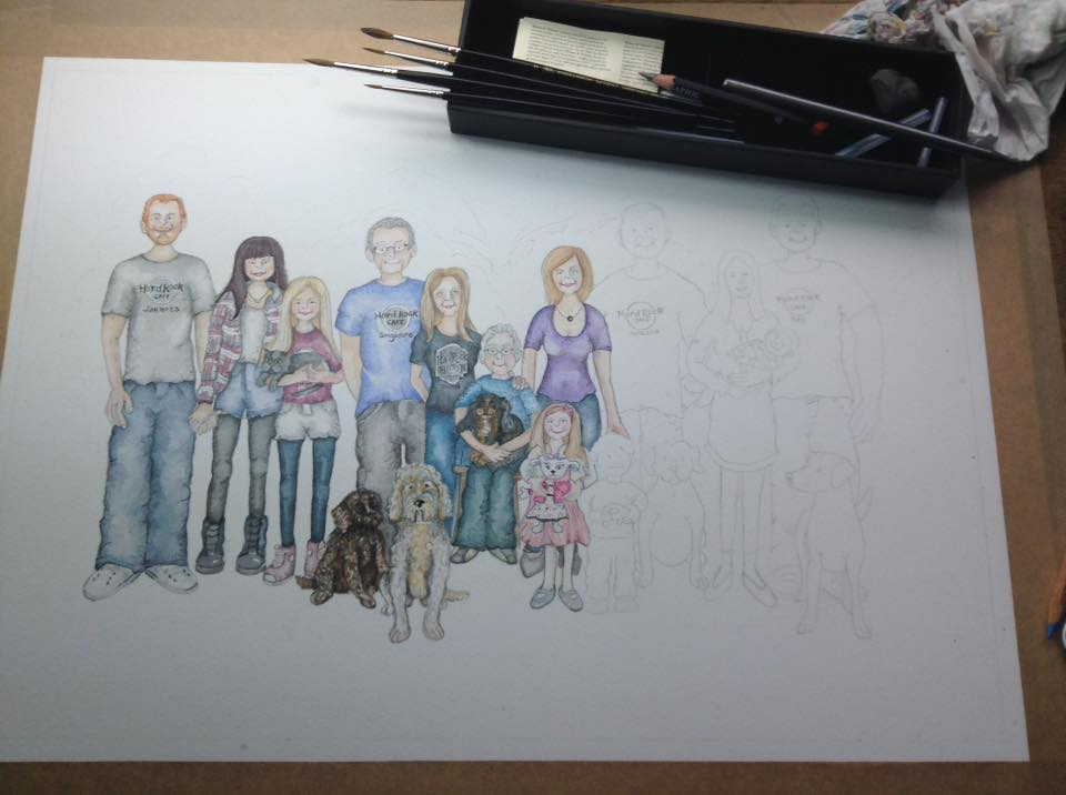working on big family portrait