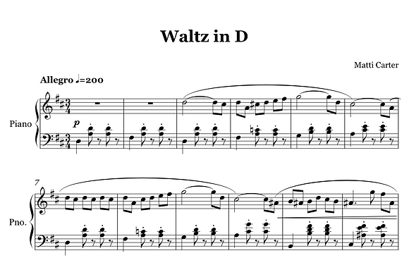 Waltz in D Sheet Music