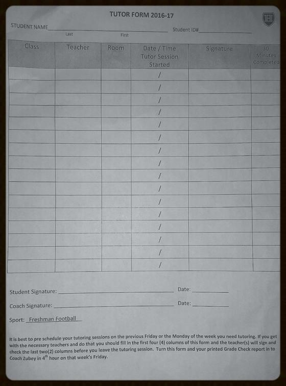 Higley High School Tutoring Form*