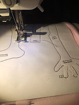 Sewing art doll hands...