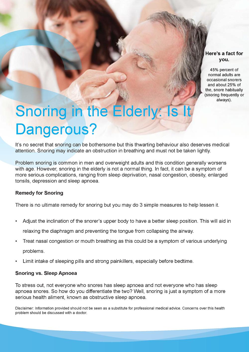 Snoring in the Elderly: Is It Dangerous?