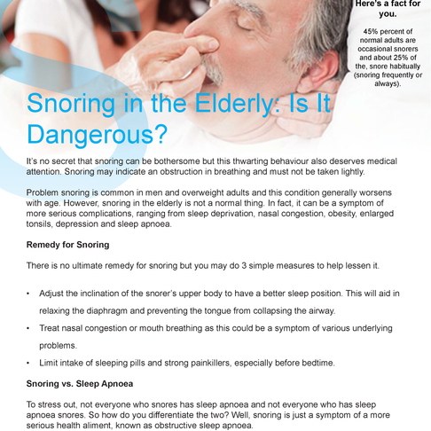 Snoring in the Elderly: Is It Dangerous?
