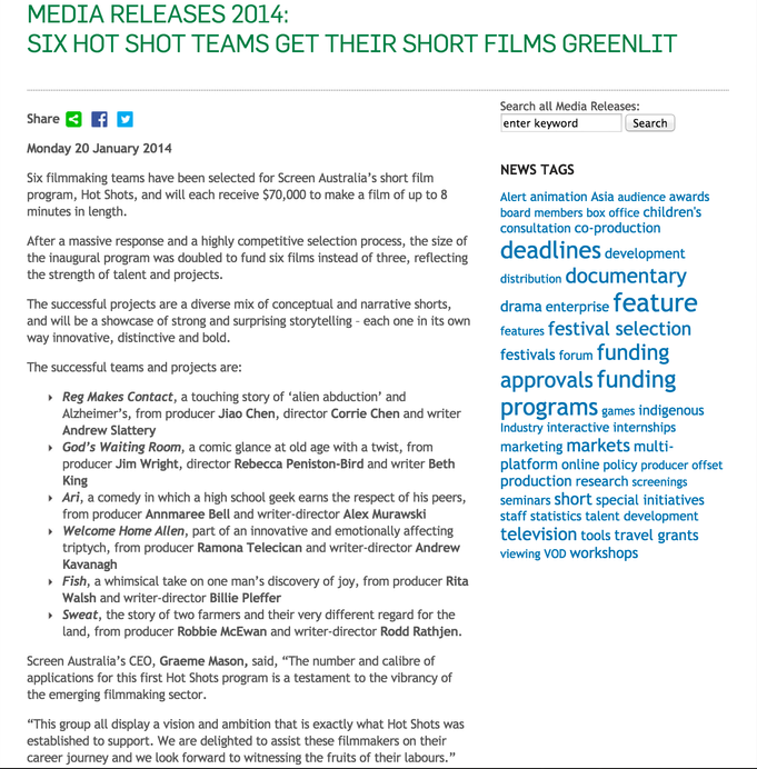 Screen Australia Hot Shots Funding
