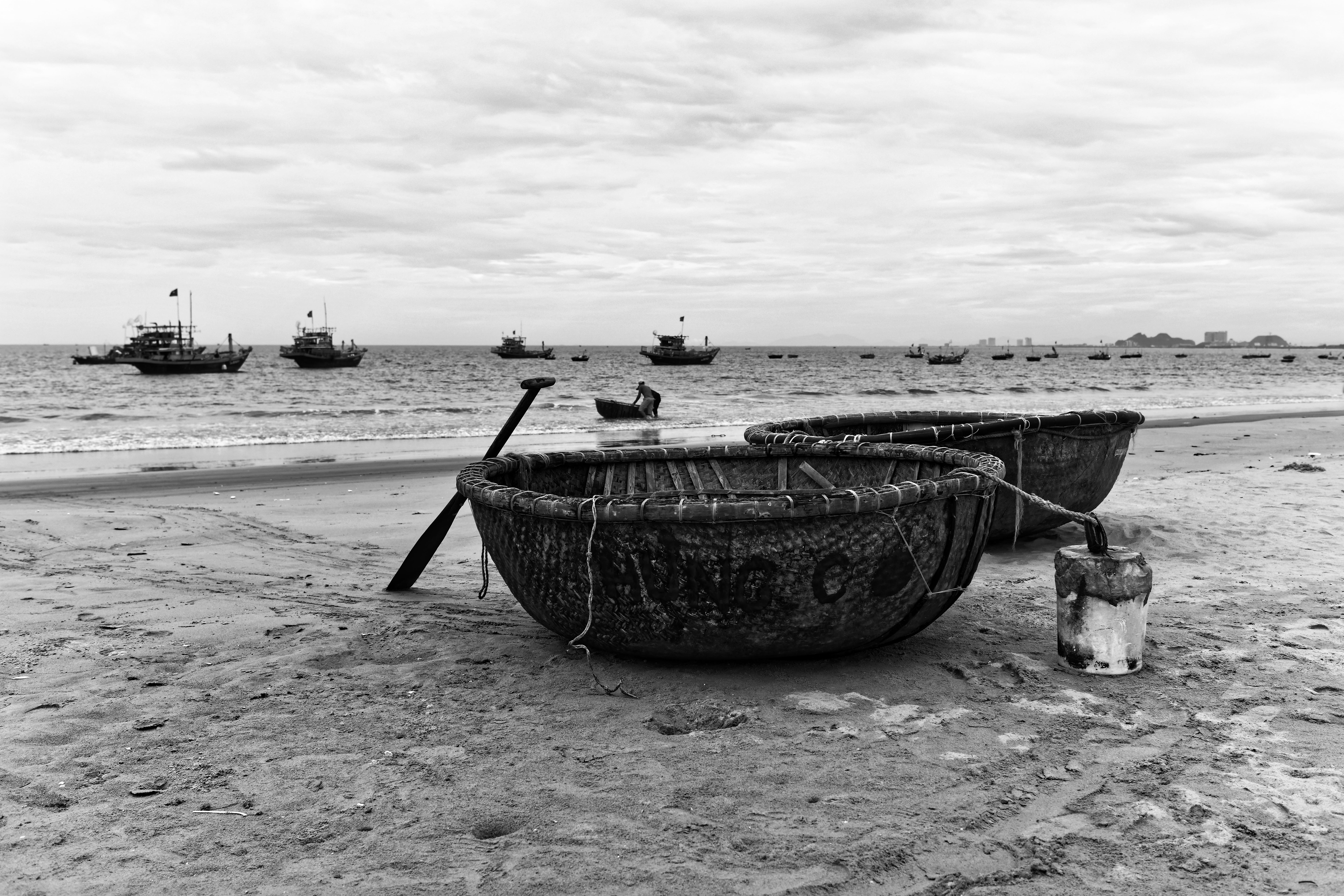 Round boats of Danang Vietnam