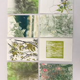Postcards from Mother Earth Monotype, lino and embossing