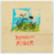 Elaine Dickie (née Ryder), Benedict's Bike,lino print on plywood, 2016. Photo: Bo Wong