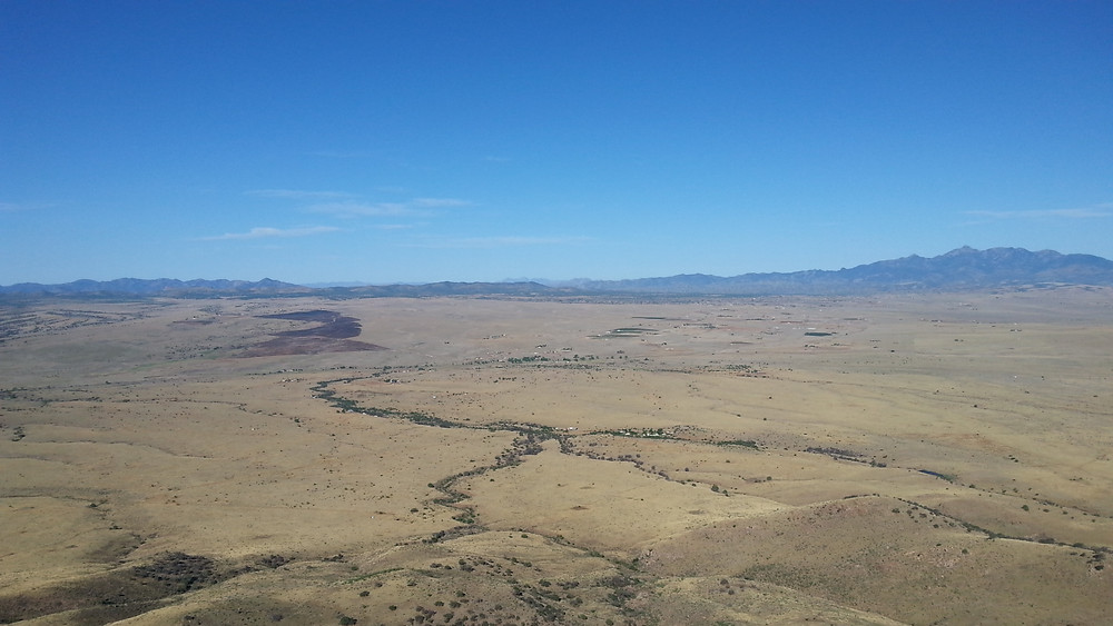 Sonoita Grasslands, big fire damage left top of pic.