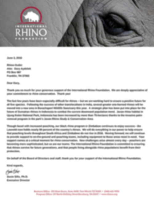 International Rhino Foundation appreciates contributions from Rhino Outlet.