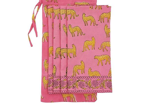 Bagged Set of 4 Pink Kotiya Napkins