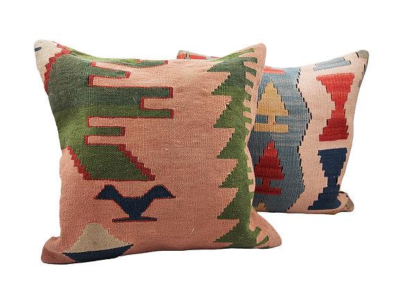 Kilim Cushion Pair - Bird & Forest