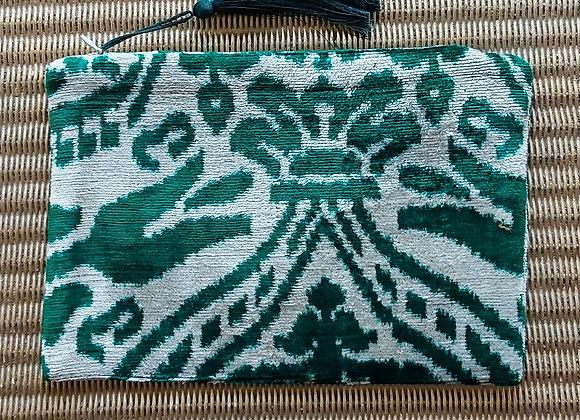Emerald Velvet Ikat Clutch