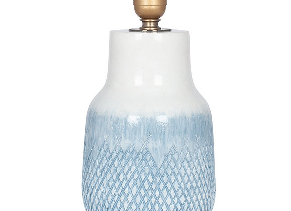 Textured Blue & White Glazed Stoneware Table Lamp