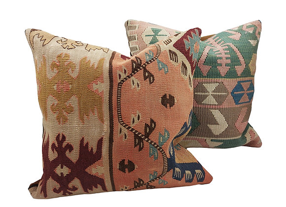 Kilim Cushion Pair - Jardin & Hydrangea