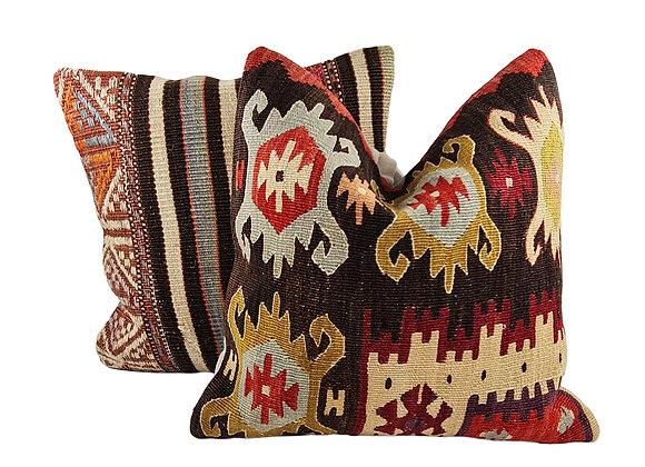 Kilim Cushion Pair - Button & Ox