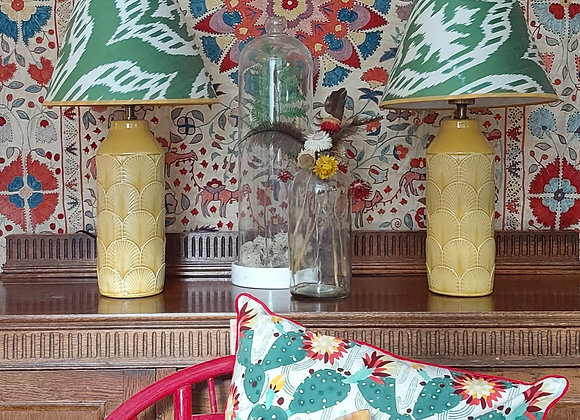 Dew Ikat Conical Lampshade with Embossed Ochre Base