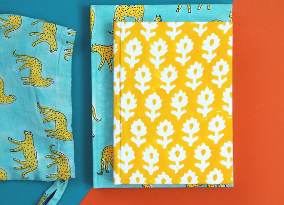 Sky Kotiya & Yellow Meadow Fabric Notebook Gift Set