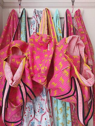 Pink Kotiya Quilted Handy Bag 100% Cotton