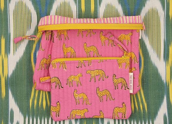 Pink Kotiya Pouch Set 100% Cotton