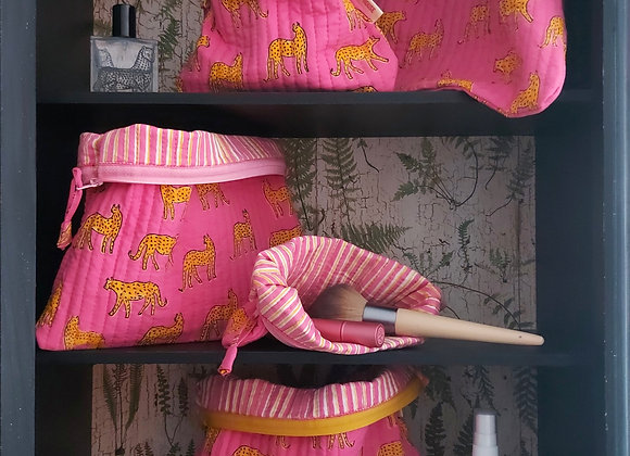 Pink Kotiya Pouch Set 100% Cotton