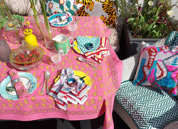 Pink Kotiya Table Cloth 100% Cotton