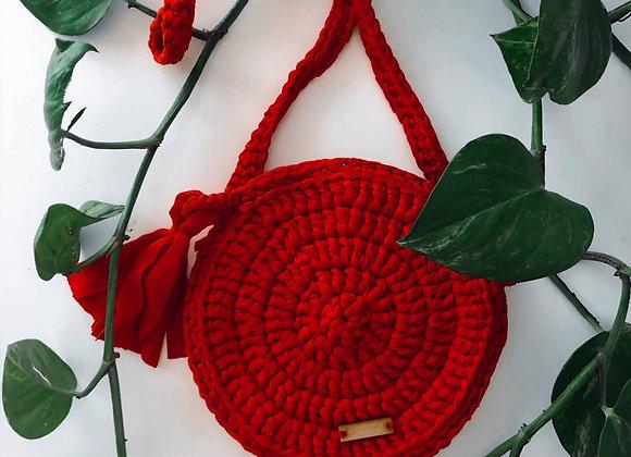 Bolsa redonda color rojo tejida a mano / Bolsas bohemias