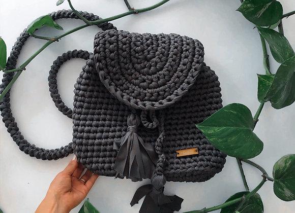 Backpack gris  tejida a mano / Bolsas tejidas