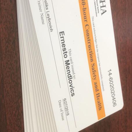 30 Hour OSHA Cards
