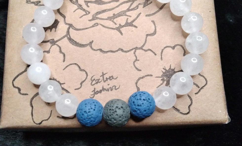 White Quartz and Lava Stones Energy Bracelet