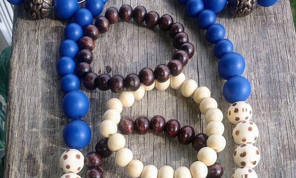 Wood Burned Spots & Blues Necklace Set