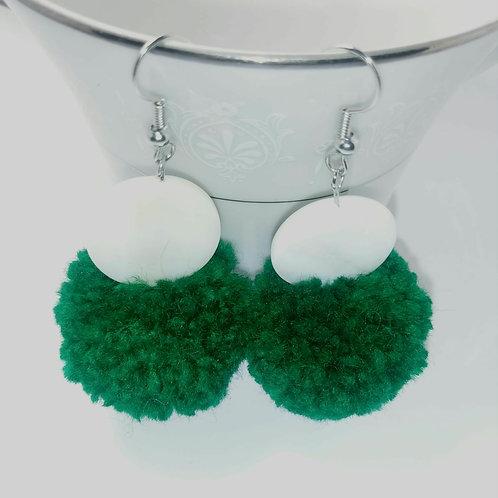 Copy of Extra Fashizz Shell  & Green Pompom Earrings