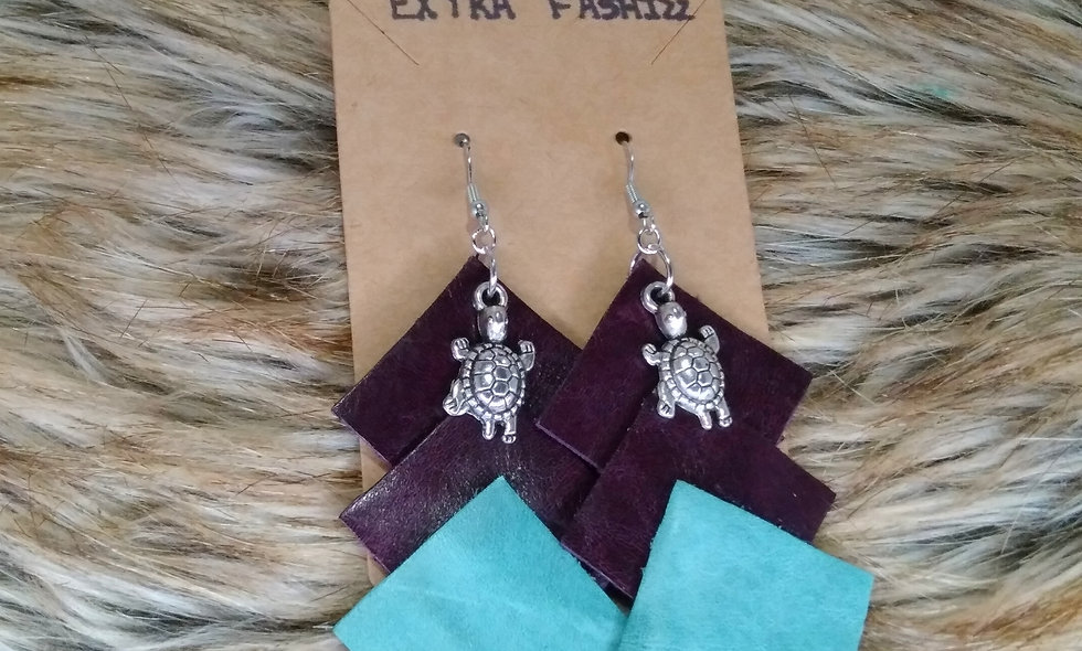 Leather Square Earrings (Turquoise &Plum)