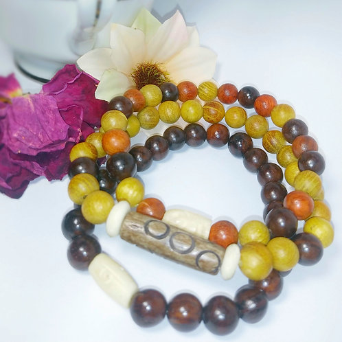 African Trio wood Bracelets